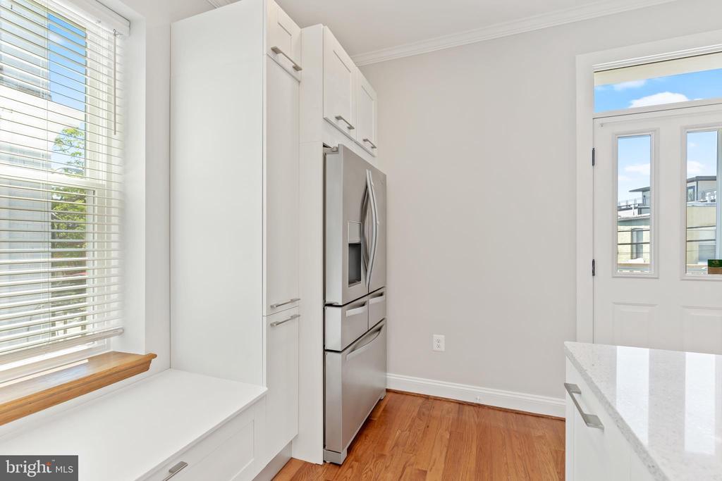 Kitchen French door refrigerator; door to deck - 3518 10TH ST NW #B, WASHINGTON