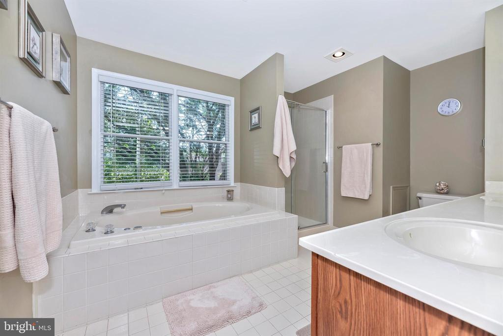 Master Bath with soaking tub and separate shower - 18 GRAY FOX CT, MIDDLETOWN