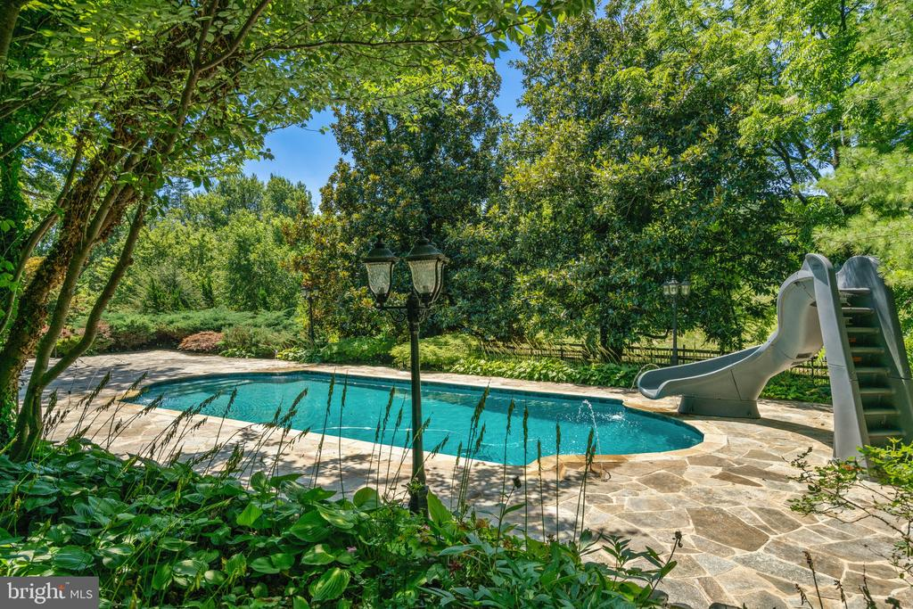 Pools has a water slide, and water fountains - 19200 ORCHARD MANOR LN, LEESBURG