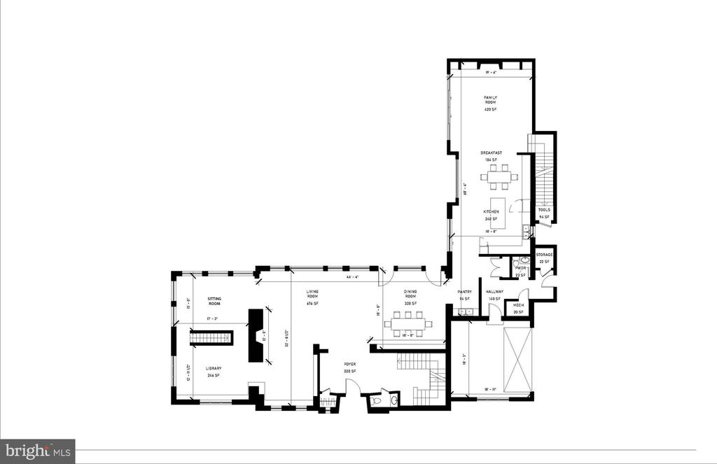 Main Level Floor Plan - 2700 FOXHALL RD NW, WASHINGTON