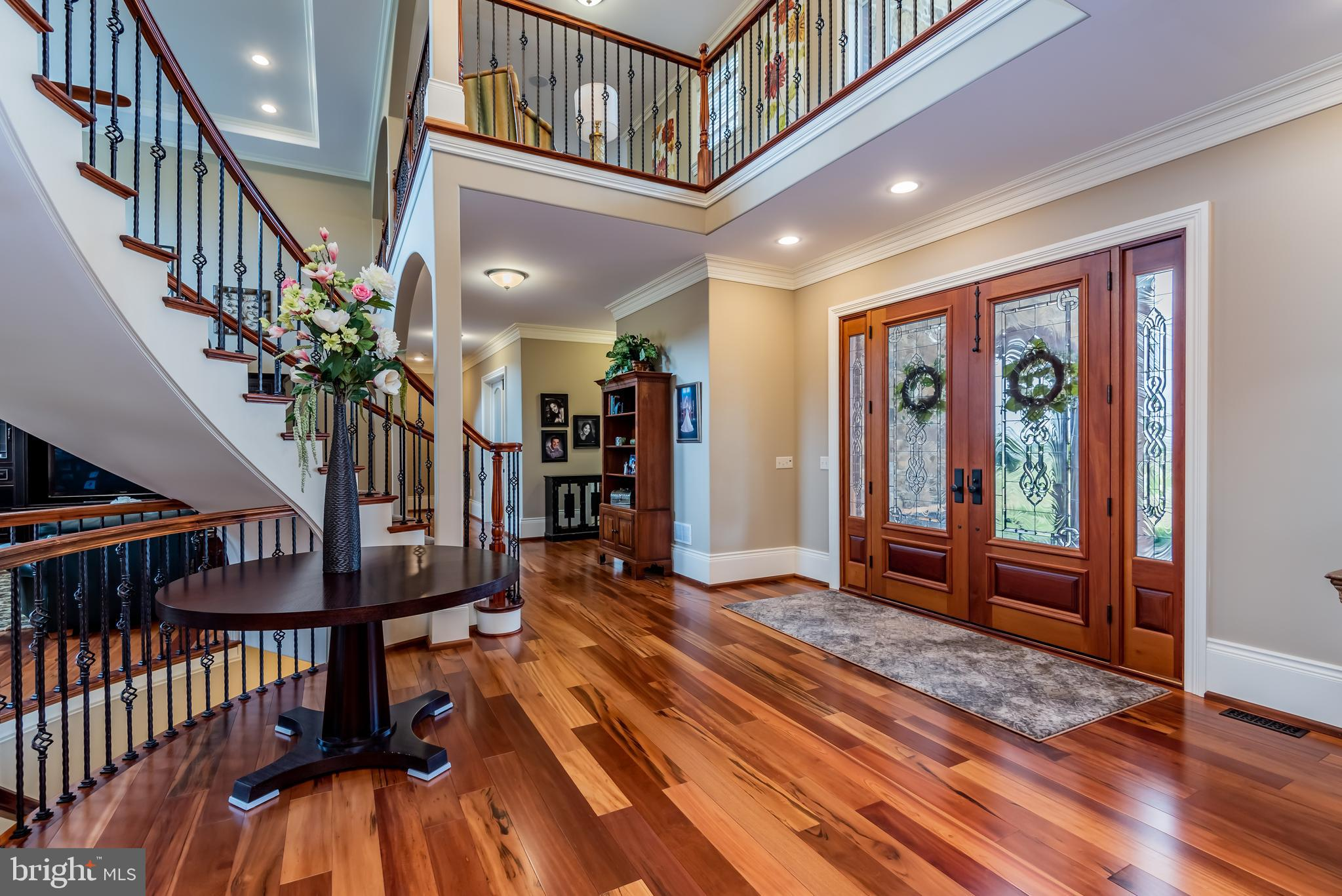 Gleaming tiger wood  floors throughout