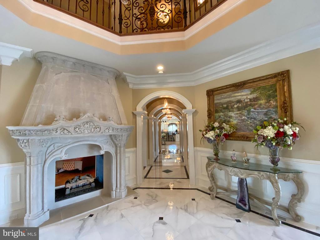 Limestone fireplace and archway - 40483 GRENATA PRESERVE PL, LEESBURG