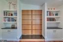 Built-ins and custom mahogany doors to living room - 13814 ALDERTON RD, SILVER SPRING