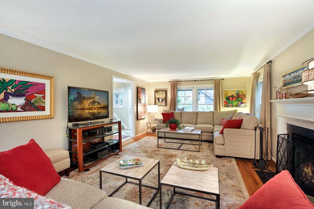 FAMILY ROOM HAS LOTS OF SEATING FOR TV WATCHING - 9500 WOODSTOCK CT, SILVER SPRING