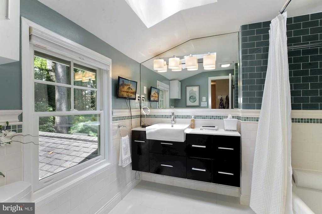 MASTER BATH WITH GLASS TILES & FLOATING VANITY - 9500 WOODSTOCK CT, SILVER SPRING