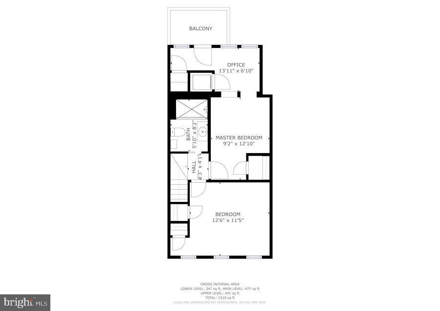 Second level floor plan - 332 CHANNING ST NE, WASHINGTON