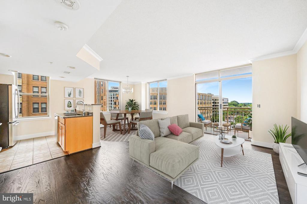 Open concept living space with abundant light - 1205 N GARFIELD ST #608, ARLINGTON