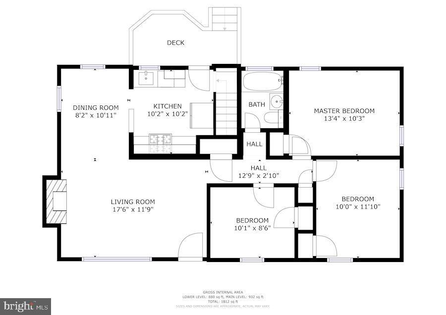 Floor Plan - Main Level - 7326 RONALD ST, FALLS CHURCH
