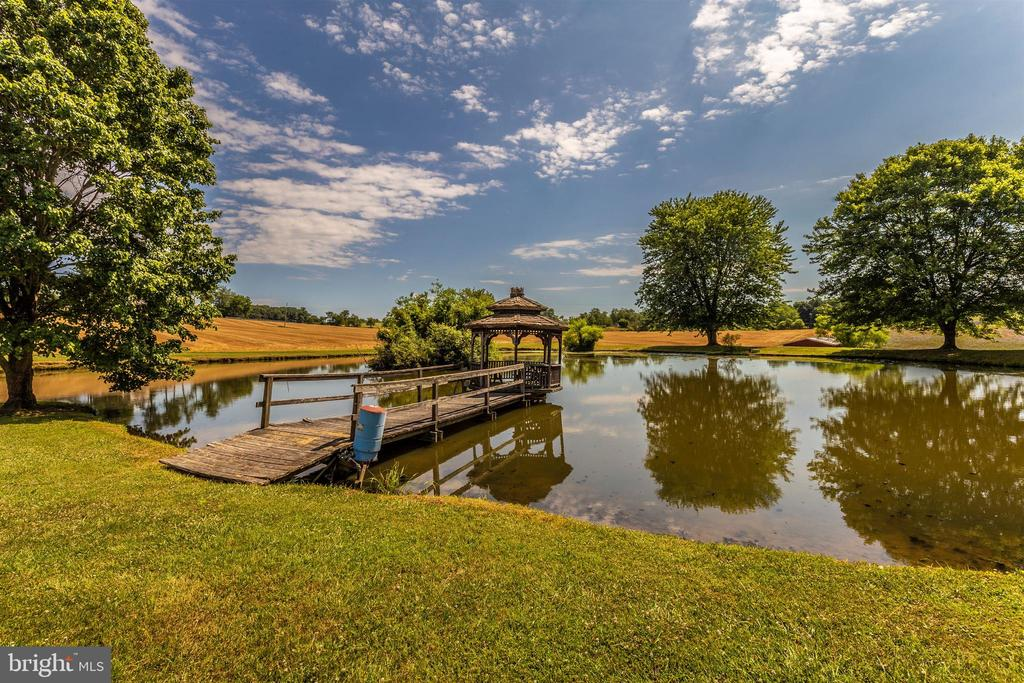 Rear pond with gazebo & waterfowl blind. - 7030 DRUMMINE RD, MOUNT AIRY
