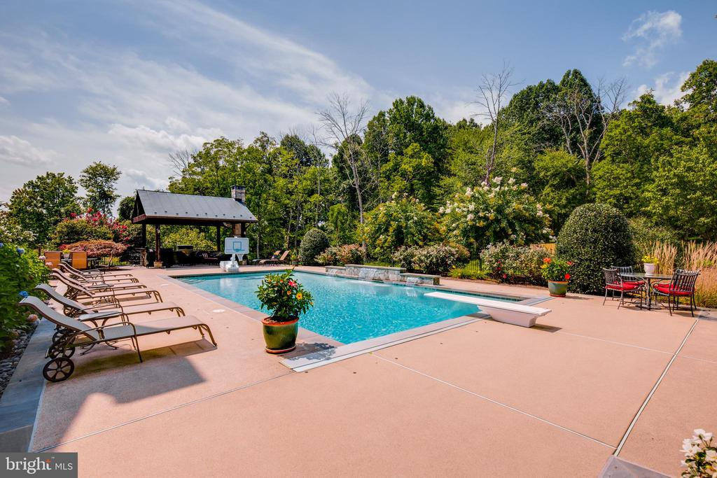 Alt view of pool and large decking area - 17765 BRAEMAR, LEESBURG
