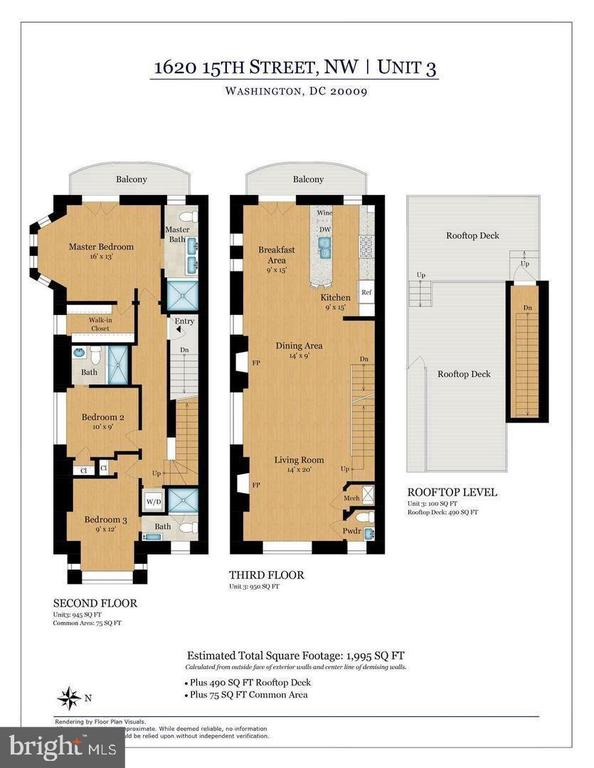 Penthouse Floor Plan (Levels 3 & 4) - 1620 15TH ST NW, WASHINGTON