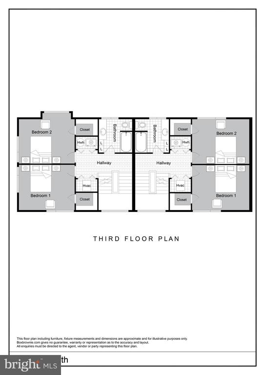 Third Floor Bedrooms/Bath Floor Plan - 2827 24TH RD S, ARLINGTON