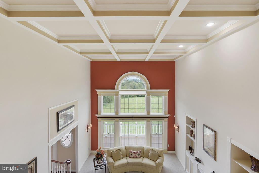 Family room with coffered ceiling - 22340 ESSEX VIEW DR, GAITHERSBURG