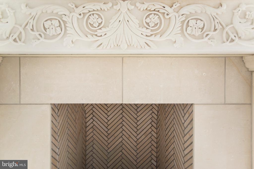 Custom limestone with herringbone firebox - 3301 FESSENDEN ST NW, WASHINGTON