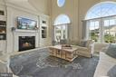 Wall of windows and built-ins in family room - 20669 PERENNIAL LN, ASHBURN