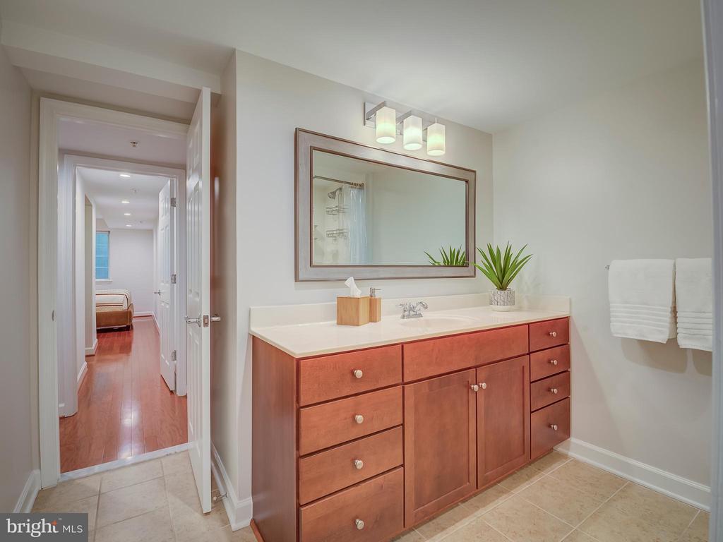 Bathroom / view into bedroom - 4141 S FOUR MILE RUN DR #104, ARLINGTON