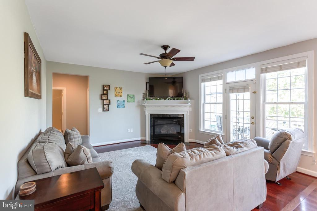 Family room with corner gas fireplace - 19198 SKINNER SQ, LEESBURG