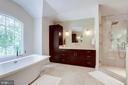 Renovated master bathroom with custom vanities - 2124 POLO POINTE DR, VIENNA