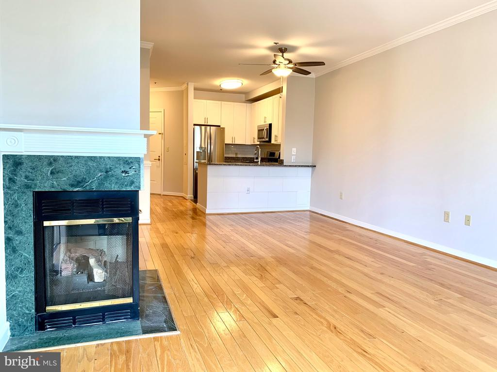 Gas Fireplace and view back to kitchen - 1625 INTERNATIONAL DR #412, MCLEAN