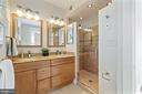 Renovated owner's bath w/dual vanity - 4111 LEGATION ST NW, WASHINGTON