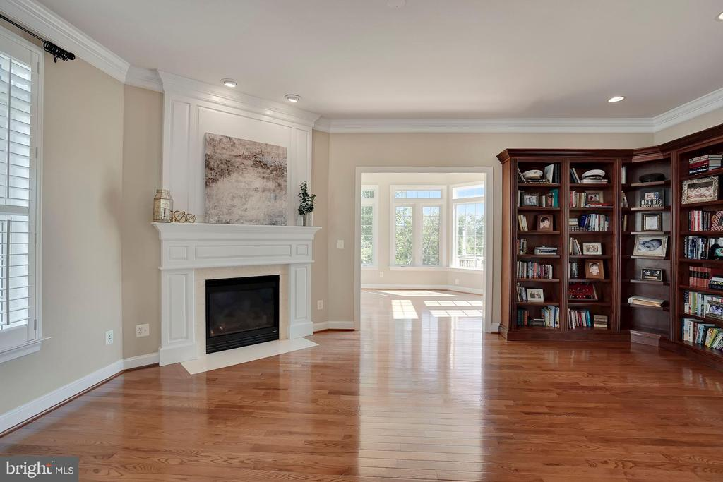 Living Room with Custom Bookshelves and Fireplace - 44220 RIVERPOINT DR, LEESBURG