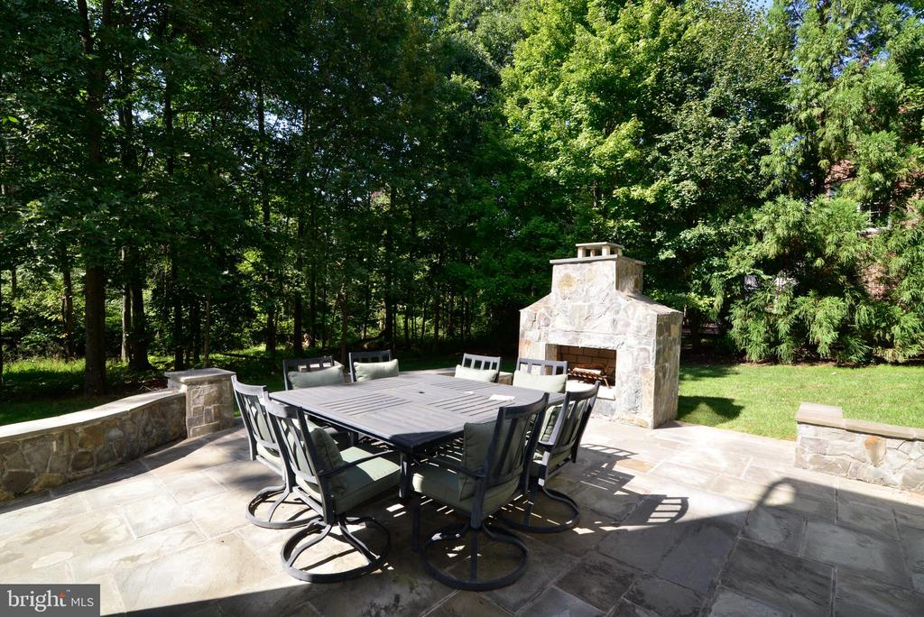 Stone patio with fireplace - 20137 BLACK DIAMOND PL, ASHBURN