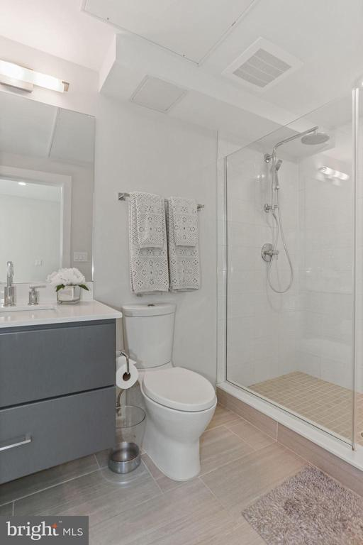 Bathrm - Modern Vanity, Floors, Lighting, Hardware - 2337 CHAMPLAIN ST NW #104, WASHINGTON