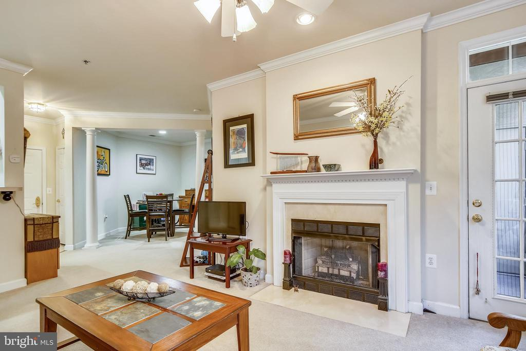 Living Room With Gas Burning Fireplace - 1320 N WAYNE ST #208, ARLINGTON