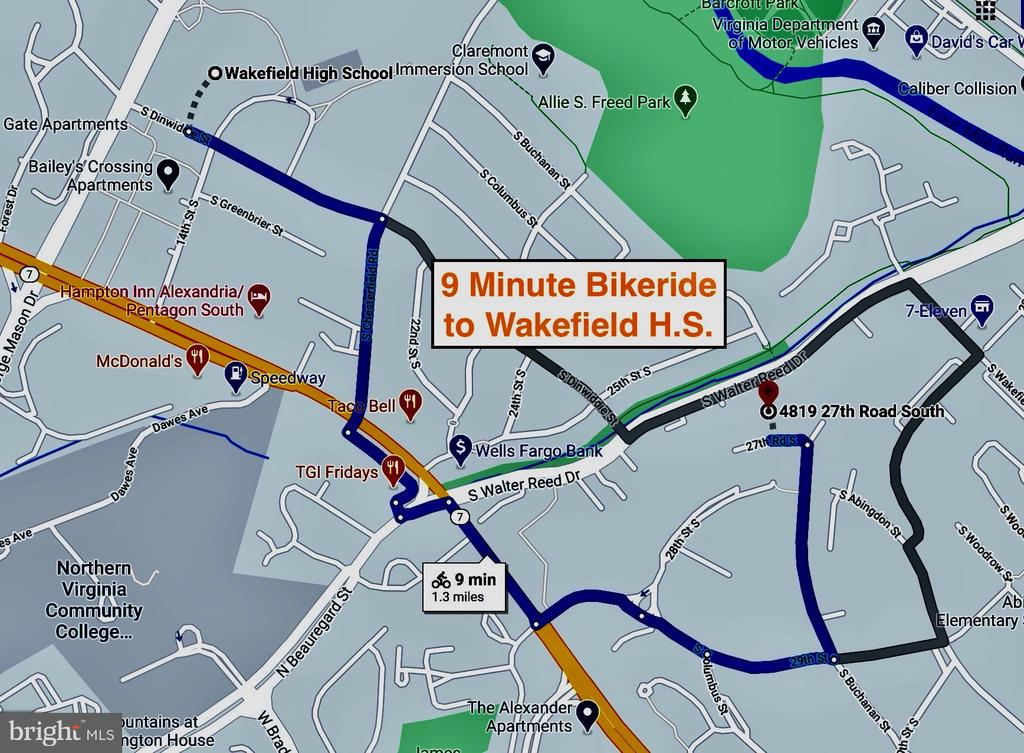 9 Min Bikeride to Wakefield High School - 4819 27TH RD S #2503, ARLINGTON