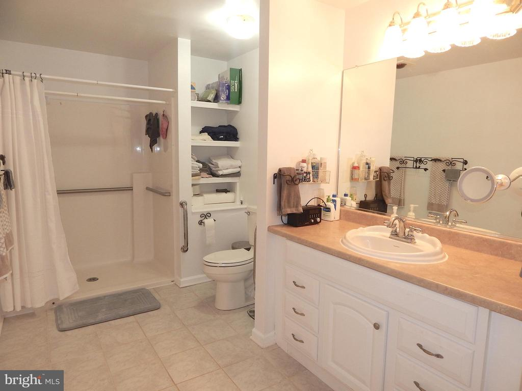 Main level Full Bath with easy step-in Shower - 6012 BATTLEFIELD GREEN DR, FREDERICKSBURG
