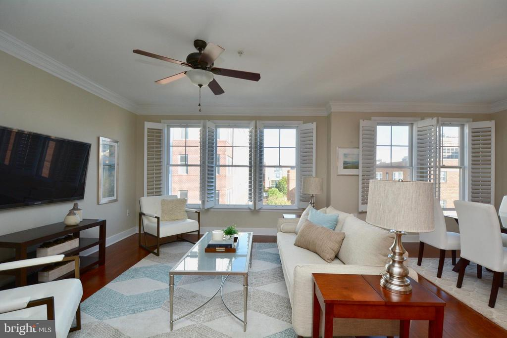 Living room is filled with sunlight - 1418 N RHODES ST #B410, ARLINGTON