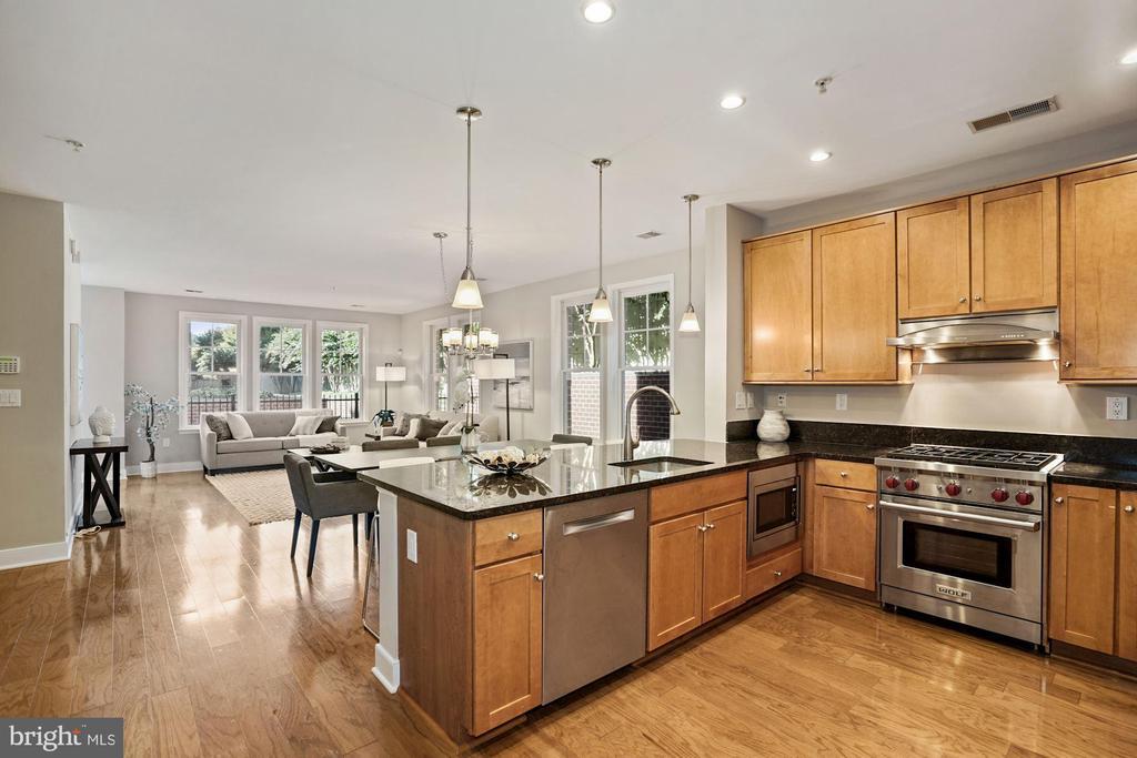 Gorgeous kitchen looking towards living room - 1418 N RHODES ST #B113, ARLINGTON