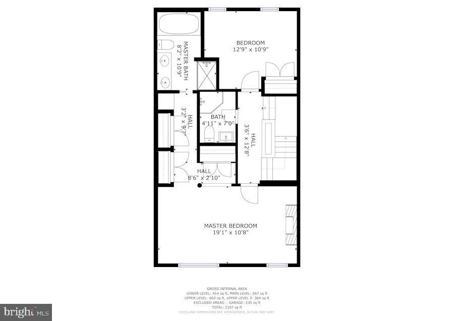 3rd level, master suite and guest bedroom - 1174 N VERNON ST, ARLINGTON