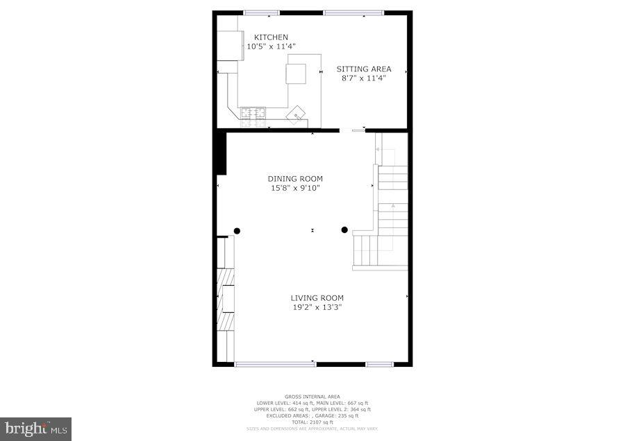Main level, family room, kitchen - 1174 N VERNON ST, ARLINGTON