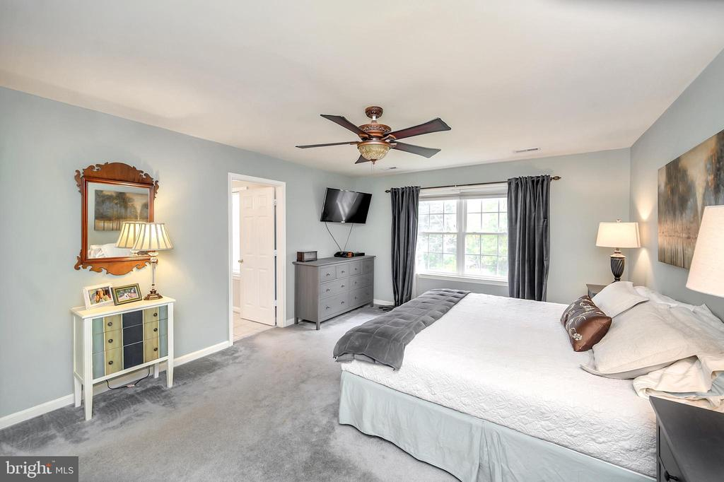 Primary bedroom ceiling fan w/light view to front - 20 VAN HORN LN, STAFFORD