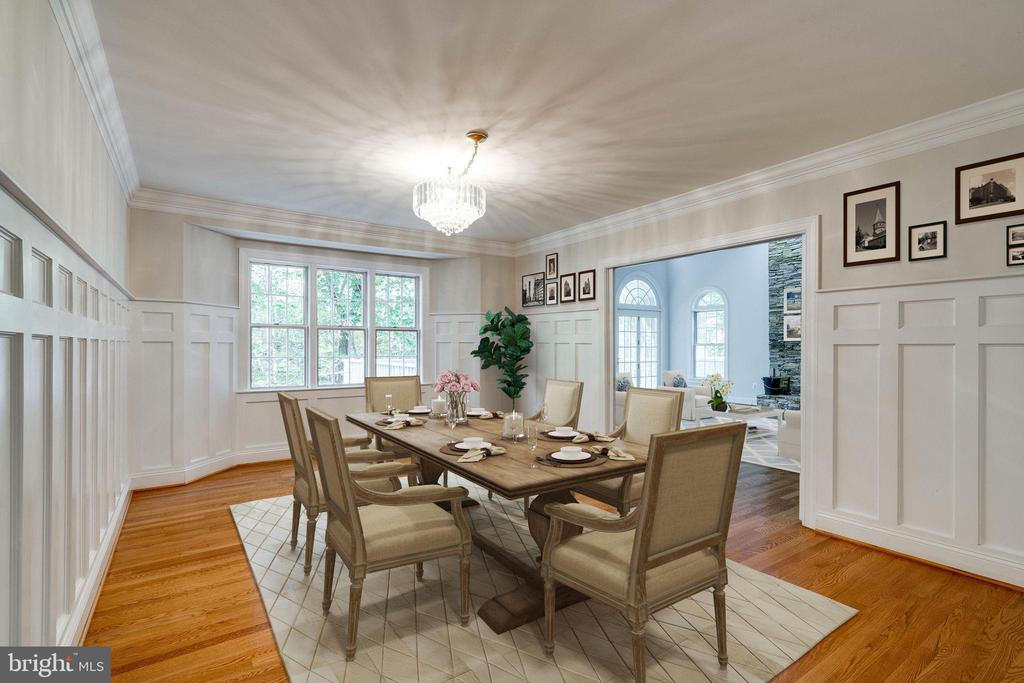 Staged dinning room from hall by kitchen - 10118 HAMPTON WOODS DR, FAIRFAX STATION