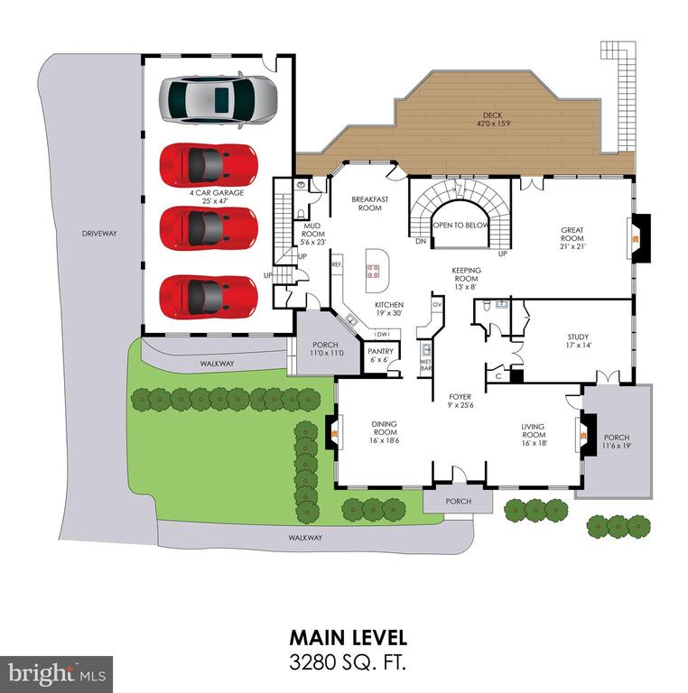 Main Level Floorplan - 2479 OAKTON HILLS DR, OAKTON