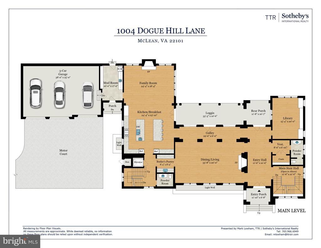 Main Level Floor Plan - 1004 DOGUE HILL LN, MCLEAN
