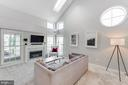 Living room with cathedral ceilings, gas fireplace - 6922 ELLINGHAM CIR #122, ALEXANDRIA