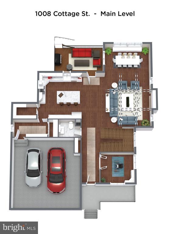 Main level with open floorplan & oversized garage - 1008 COTTAGE ST SW, VIENNA