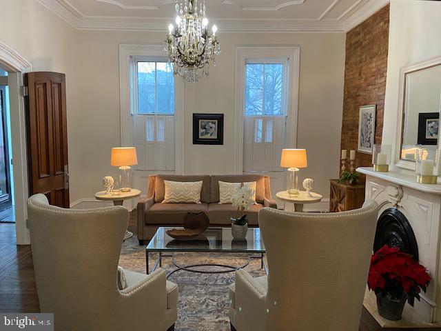 Living room with fireplace - 330 A ST SE, WASHINGTON
