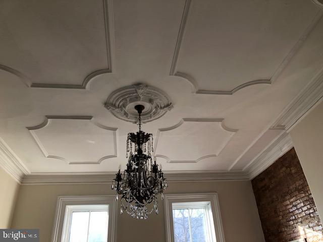 LR:  High ceiling; moldings; medallion, brick wall - 330 A ST SE, WASHINGTON