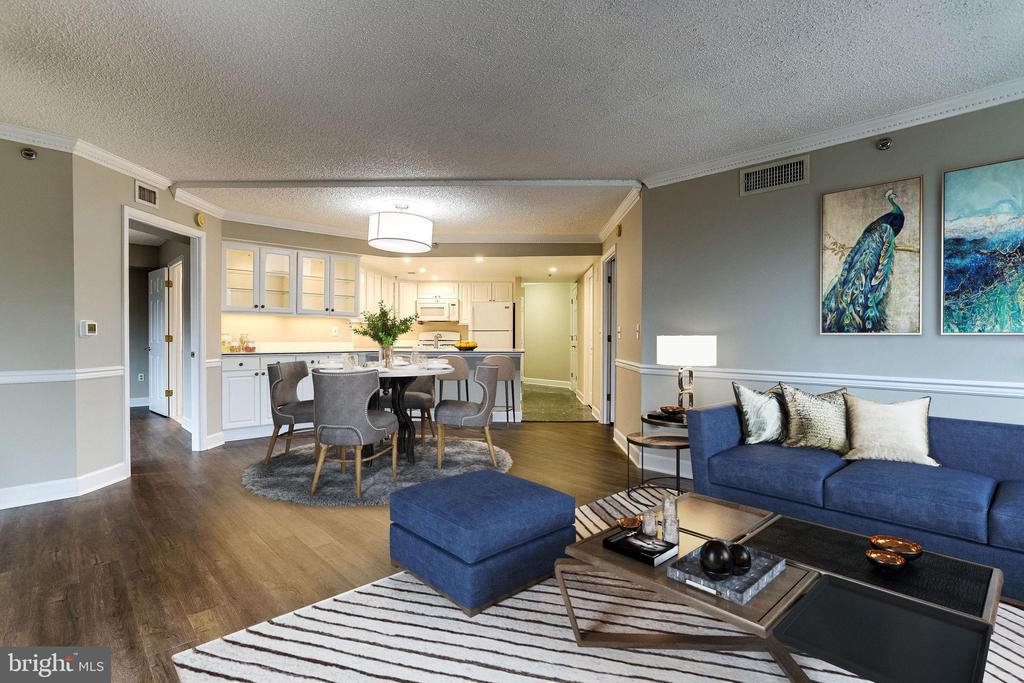 Virtually Staged Living Room - 1276 N WAYNE ST #320, ARLINGTON