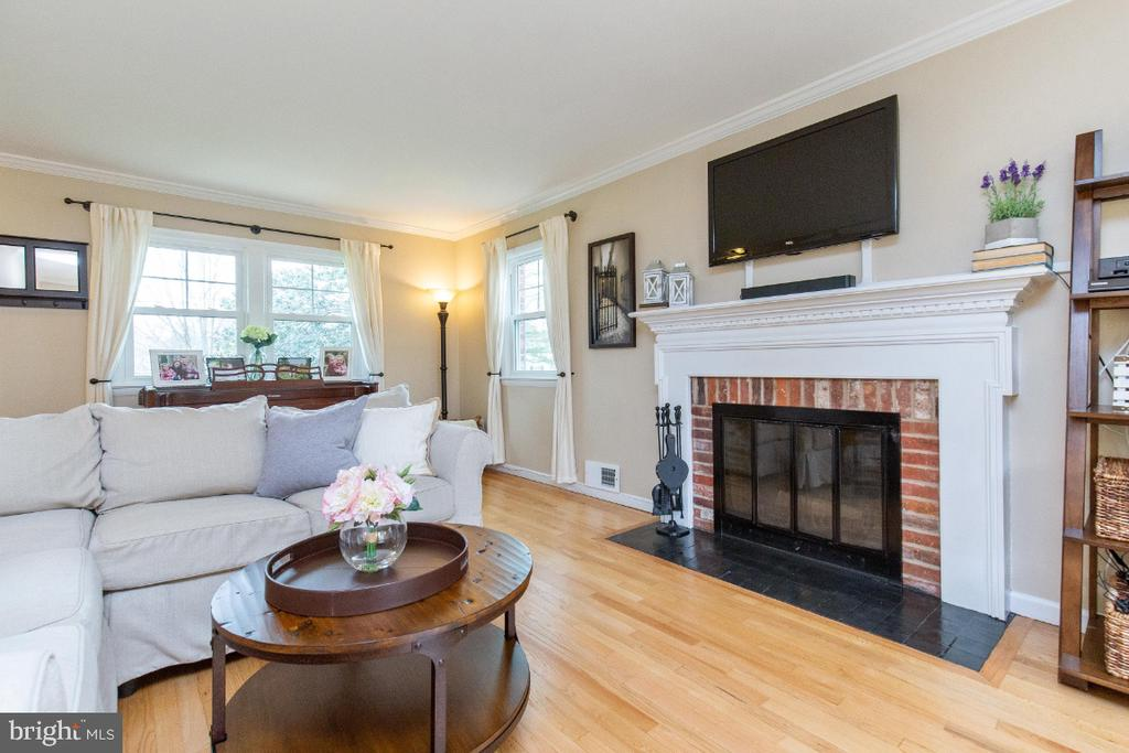 Wood burning fireplace in living room - 1064 DALEBROOK DR, ALEXANDRIA