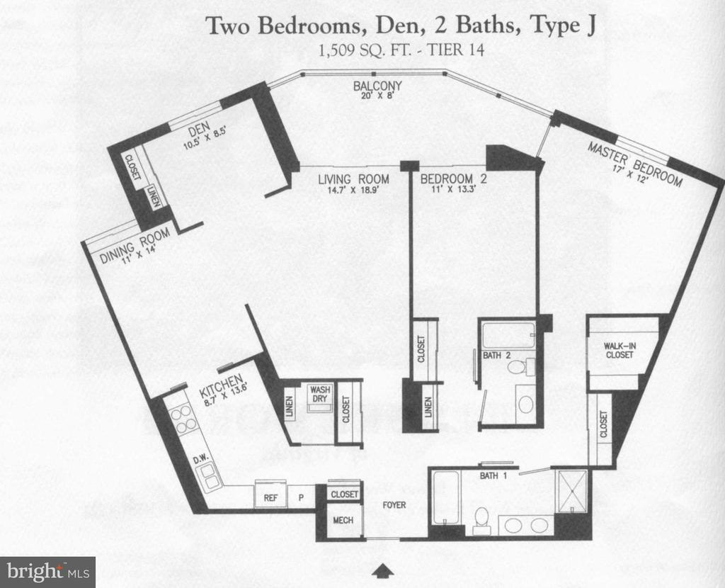 Floor Plan J Model - 2BR / 2 ba & Den  1509 sf - 19385 CYPRESS RIDGE TER #1103, LEESBURG