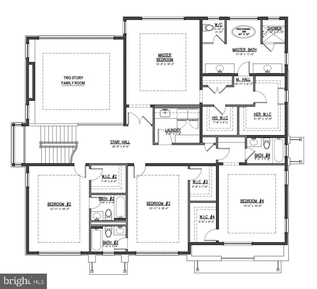 Second Story Floor Plan - 7009 ELIZABETH DR, MCLEAN