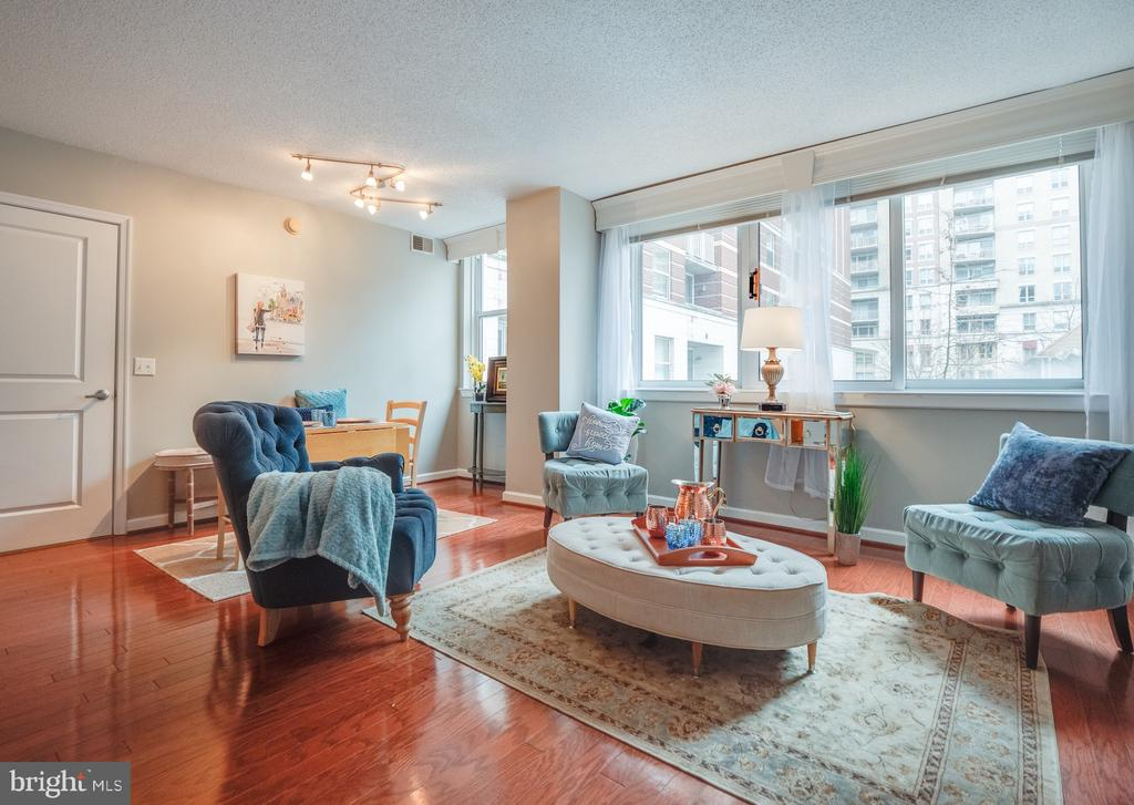 Open Living/Dining Room with windows and hardwoods - 880 N POLLARD ST #201, ARLINGTON