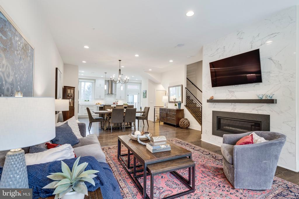 Living Room with View of Linear Gas Fireplace - 171 WINSOME CIR, BETHESDA