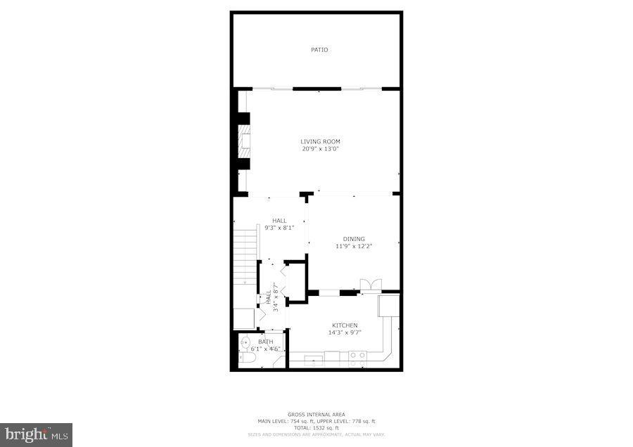 Floor Plan of Main Level - 1610 BELMONT ST NW #D, WASHINGTON