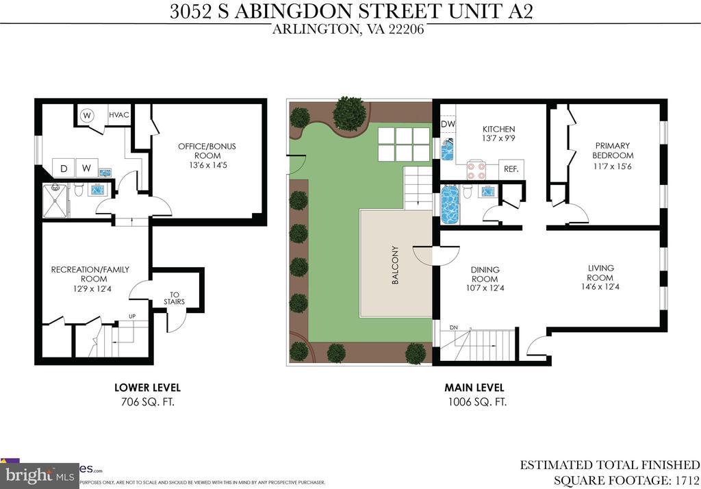Floor Plan - Monticello Model - 3052 S ABINGDON ST #A2, ARLINGTON
